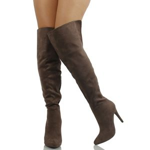 Shoes - Size 5.5 Taupe over the Knee open cuff boot